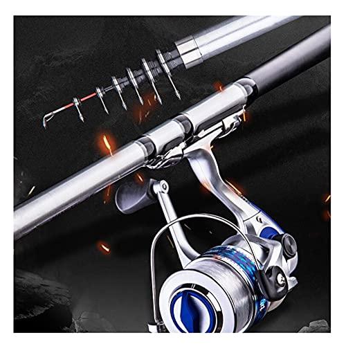 ZXQ Caña de pescar y carrete Combos mano-mar doble propósito portátil telescópica caña de pescar FRP fibra Pesca poste, 2.4 m