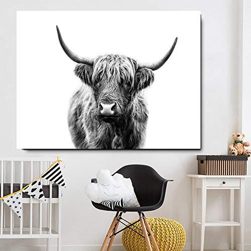 MKGLU Schwarz-Weiß-Hochlandrind Wand Leinwand Kunst Nordic Malerei Poster Und Wohnzimmer Wandmalerei Auf Leinwand Tierbilder Gedruckt - Kein Rahmen