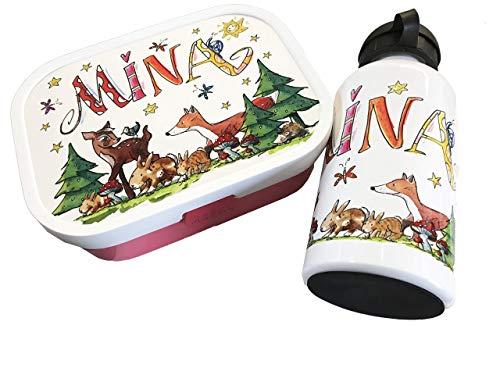 Brotdose mit Trinkflasche, Waldtiere Fuchs