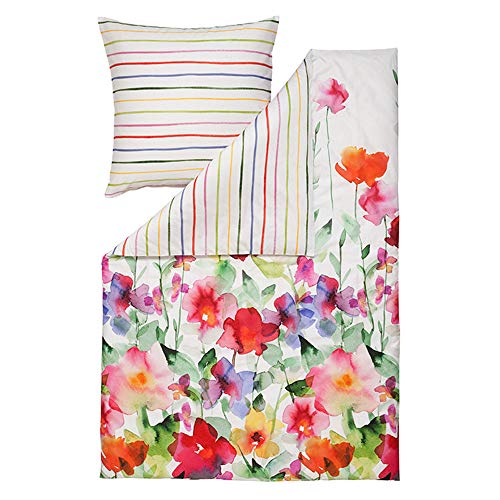 ESTELLA Bettwäsche Aquarell | Multicolor | 135x200 + 80x80 cm | Mako-Satin mit seidigem Glanz | trocknerfest | atmungsaktiv und anschmiegsam | 100% Baumwolle