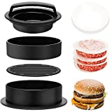 Jackcell Hamburger Press Patty Maker, 3-in-1 Non Stick Stuffed Burger Press with 100 Wax Papers, Cookery Mold Tool for BBQ Grilling Hamburgers, Beef Patties and Sliders