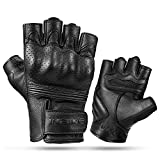 INBIKE Fingerless Motorcycle Gloves Summer Breathable Goatskin Leather Wear Resistant Hard Knuckle Black Medium