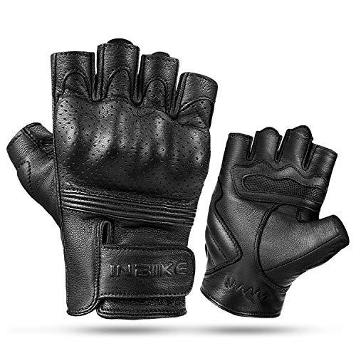 INBIKE Motorhandschoenen Heren Vingerloze 100% Geitenhuid Lederen Knuckle Bescherming MTB Fietsen Mountainbike Gym