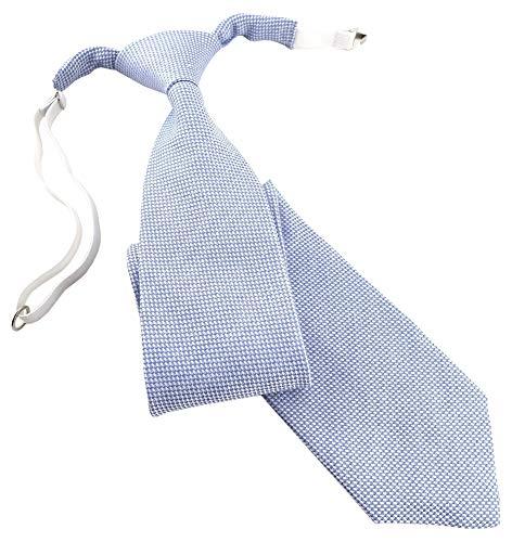 TigerTie Corbata infantil de piqué en color liso, preatada con goma elástica. azul y blanco Talla única