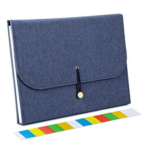 Uquelic Clasificadores Carpetas de Acordeón 13 Bolsillos Carpeta Archivadora Extensible Portátil Oxford Organizador Documentos para A4 Perfecto para la Escuela y la oficina (Azul)