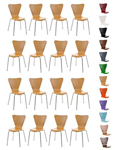 CLP 16 x Konferenzstuhl Calisto mit Holzsitz und stabilem Metallgestell I 16 x platzsparender Stuhl mit pflegeleichter Sitzfläche Natura