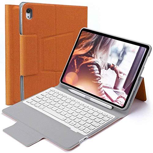 iPad Pro11 2018年 Bluetooth キーボード ワイヤレスキーボード 超薄TPUケース ペンシル収納付き ブルートゥース Bluetooth キーボード スタンド カバー 対応型番 A1934/A1979/A1980/A2013 (オレン