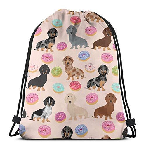 LREFON Bolsas con cordón para gimnasio Mochila Donuts Mochila ligera para perros Bolsa para almacenamiento de viaje Organizador de zapatos Bolsas de regalo de baloncesto para estudiantes