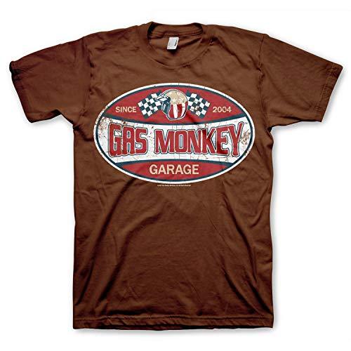 Gas Monkey Garage Officially Licensed - Since 2004 T-Shirt Maglia Maglietta GMG (Marrone, Medium)