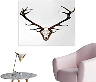 Tudouhoho Antlers Cool Poster Antlers of a Huge Stag Wall Paper Bones Mounted on a Wooden Plate Prize Skull PrintBrown Light Grey W36 xL32
