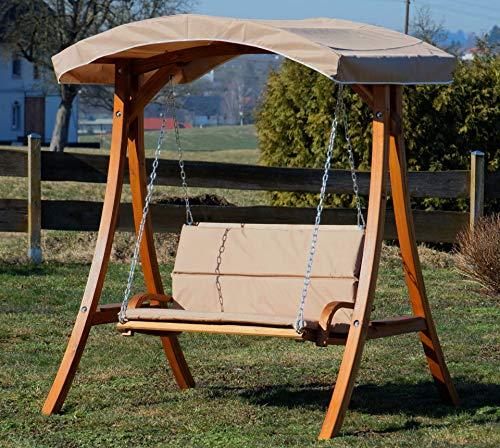 ASS Design Hollywoodschaukel Gartenschaukel Schaukelbank Rio aus Holz Lärche mit Dach und Polsterauflage braun - 3