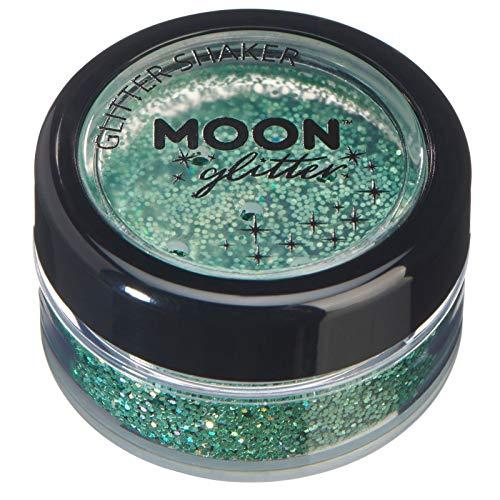 Holographic Glitter Shakers par Moon Glitter - 100% cosmétiques paillettes pour le visage, le corps, les ongles, les cheveux et les lèvres - 5g - Vert