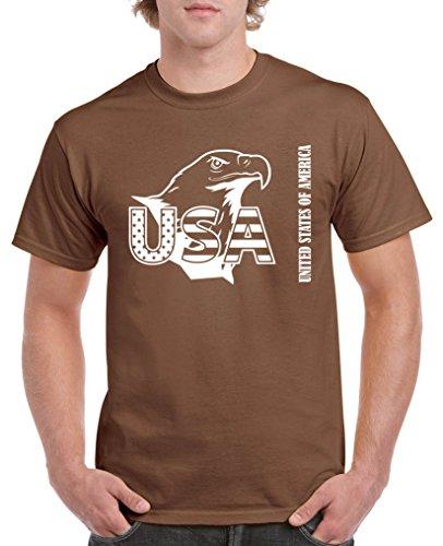 Comedy Shirts - USA Adler - Herren T-Shirt - Braun/Weiss Gr. XL