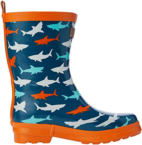 Hatley Jungen Printed Wellington Rain Boots Gummistiefel, Blau (Bluegreat White Shark 400), 34 EU