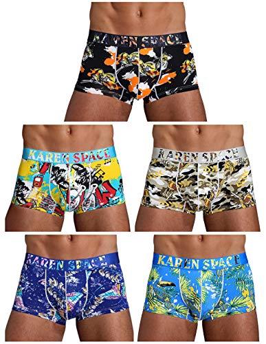 Arjen Kroos Herren Boxershorts Unterwäsche für Männer Men Sexy Boxer Shorts Briefs mit Muster Trunk Retroshorts Retropants Unterhosen Hipster, Mehrfarbig-3(5er Pack), L(80-88cm)