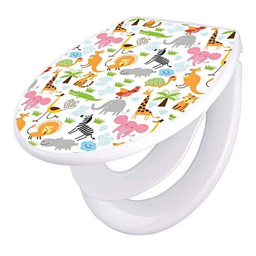 banjado Familien WC Sitz mit Absenkautomatik | Toilettendeckel mit Kindersitz | Klodeckel weiß | Toilettensitz mit Soft Close | 44 x 37 cm WC Deckel mit Motiv Fröhliche Tiere