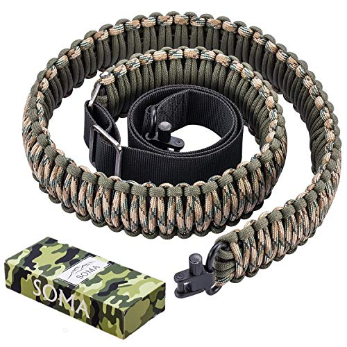 SOMA Gun Sling Paracord 550lb 2 Point Adjustable Strap for Tactical Rifle or Shotgun 4 Colors (CAMO)