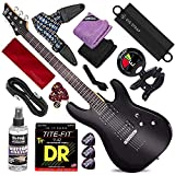 Schecter 432 C-6 Deluxe Solid-Body Electric Guitar (Satin Black) with Clip-On Tuner & Blueburst Strap Deluxe Guitar Kit Bundle
