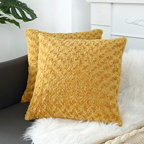 sykting Decorative Pillow Covers Soft Plush Faux Fur Fuzzy Throw Pillow Cases for Couch Sofa Bed Chair 18x18 inch Pack of 2 Yellow