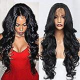 wig Lange Körperwelle Haar Schwarz Farbe Synthetische Lace Front Perücken Natürlichen Haaransatz Baby Haar Synthetische Lace Front Perücken Für Schönheit,18Inches