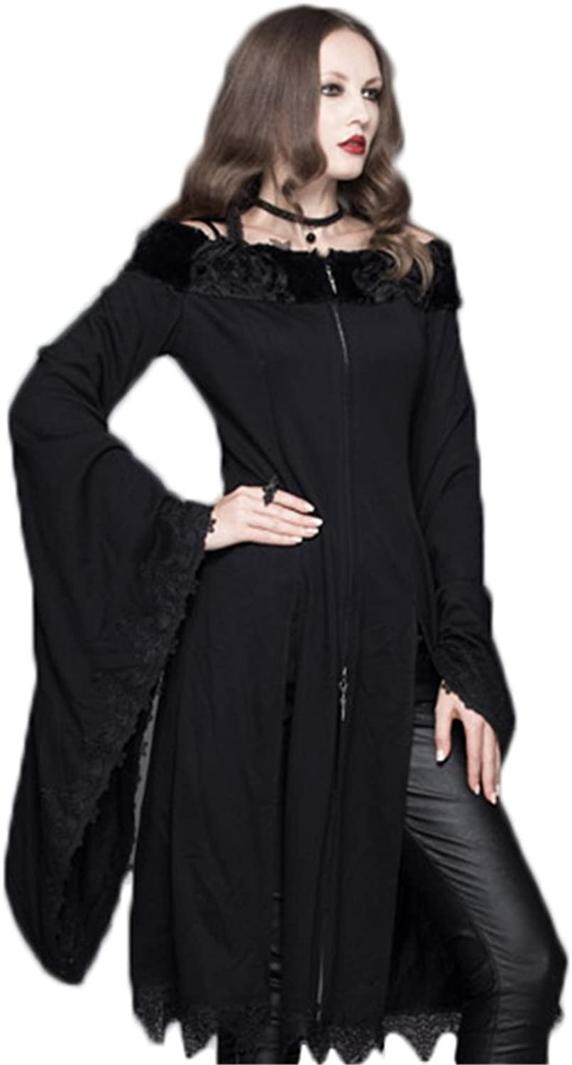 Devil Fashion Punk Gothic Women Casual Long T Shirts Dress Vintage Sexy Batwing Sleeve Tops Black