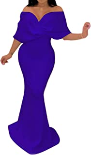 Half Sleeve Twisted Twist Front Off The Shoulder Long Maxi Bodycon Fishtail Mermaid Dress