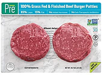 Pre, 85% Lean Burger Patties – 100% Grass-Fed, Grass- Finished, and Pasture-Raised Beef– 10.66oz. (2