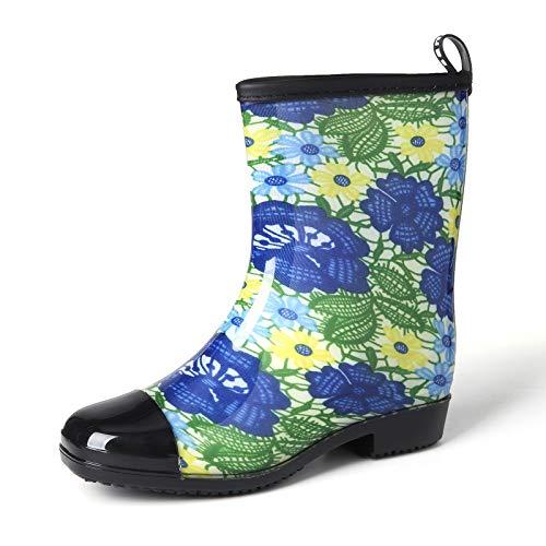 gracosy Gummistiefel Herrenschuhe Damenschuhe wasserdichte Stiefel Muster Mode Wasserschuhe Mid-Tube rutschfeste Stiefel Outdoor-Wanderschuhe