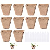 Macetas de Turba 10pcs Macetas Biodegradables Macetas de Semillas Macetas de Fibra Macetas de Turba para Plantas Semilleros de Germinacion con 15 Etiquetas Plantas para Semillas Plántulas Vegetales