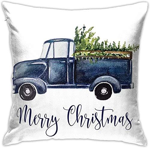 MODORSAN Camión de Navidad Azul Throw Home Dormitorio Decoración para el hogar Cuadrado 18x18 Pulgadas Funda de Almohada