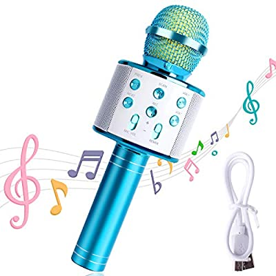 Karaoke Microphone, Mukum Wireless Bluetooth Microphone, Portable Speaker Karaoke Machine, Home KTV Player Compatible with iOS/Android Devices for Party/Kids Singing/Christmas Gift