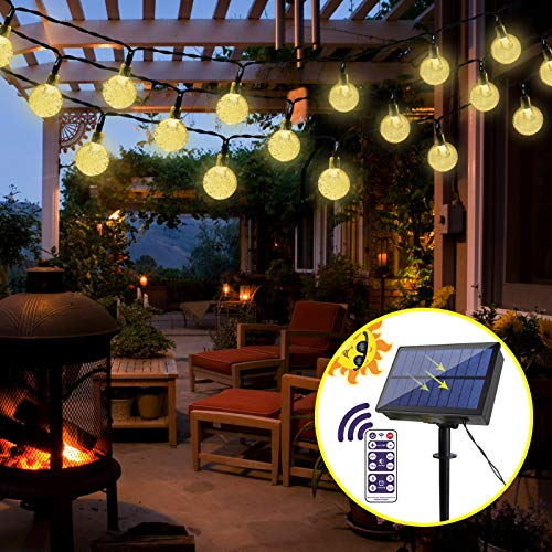 LED Solar Lichterkette Extra Lang 7M 50 LEDs Kristall Kugeln Warmweiß IP65 Wasserdicht 8 Modi mit Fernbedienung, 14-30 Stunden, Deko für Garten, Vorhang, Terrasse, Hochzeit, Partys, Innen & Außen