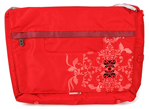 DURAGADGET Premium Quality 'Bright' Red Print Messenger & Shoulder Bag in Satchel-Style - Compatible with XMG C405 14' Core Gaming Laptop & XMG C505 15.6' Core Gaming Laptop