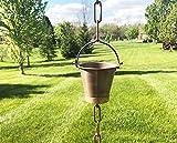 U-nitt 8-1/2 feet Pure Copper Rain Chain, Alternative Downspout for Gutter, Farmhouse Bucket Cup, Brass Accent, 8.5 feet Length, 8146D Distressed Copper