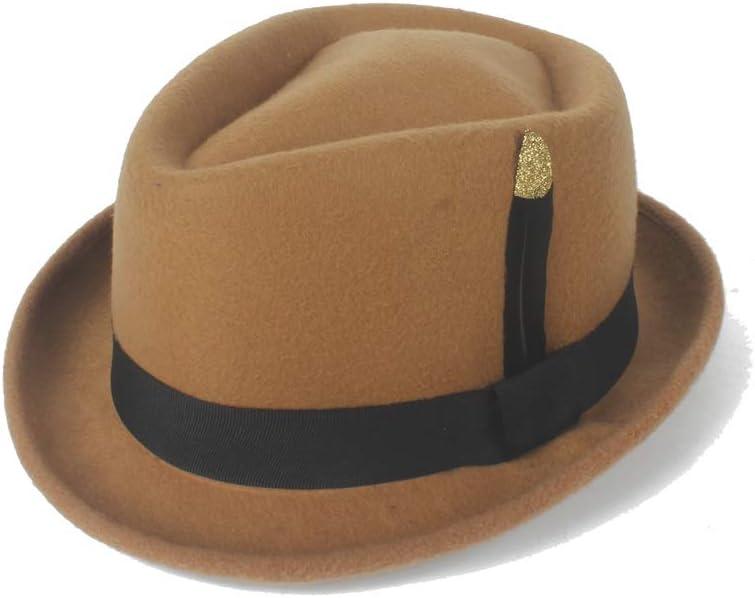 HHF Caps & Hats 2019 Men's Wool Fedora Hat, Felt Wool Black Gold Feather Church Hat Jazz Hat Sun Hat Ladies Hat (Color : Khaki, Size : 56-58cm)