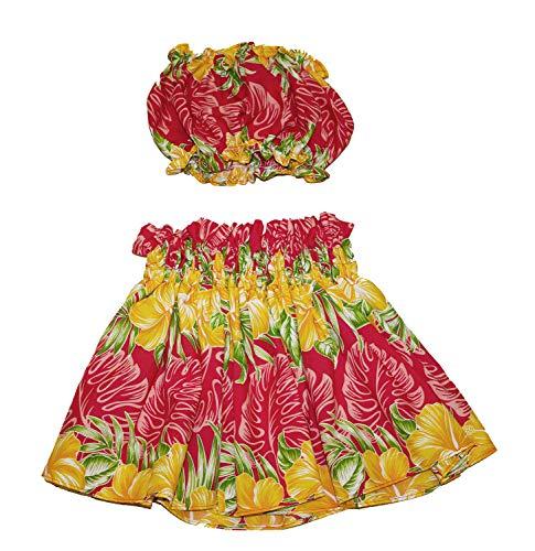 夏威夷小孩女孩Pa'u Hula裙子有顶部,夏威夷花卉呼啦舞裙连衣裙1到4年的小孩女孩(红色)