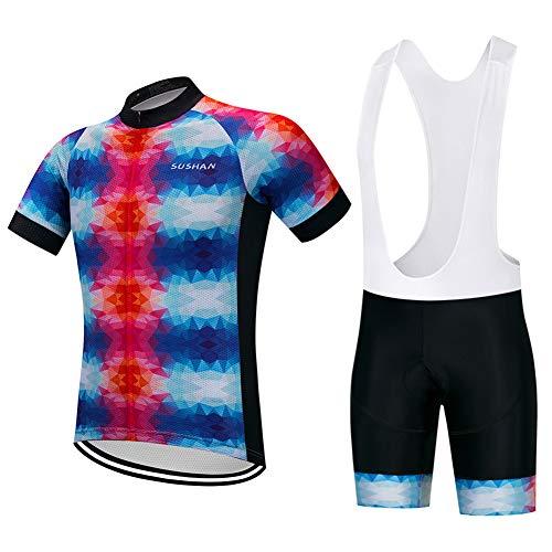 HUIGE fietsshirt voor heren, siliconen, gewatteerd bib shorts, korte mouwen, reflecterend Unisex Pro Team-fietskleding, met drie zakken buitenshuis