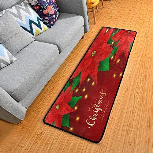 ALAZA Christmas Rug Runners for Hallways, Poinsettia And Christmas Lights Red Christmas Kitchen Rugs 61 x 183cm