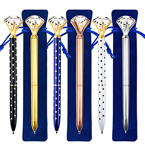 Coopay 6 Pieces Crystal Diamond Pens Bling Rhinestone Metal Ballpoint Pens Black Ink and 6 Pack Navy Blue Velvet Bags for School Office