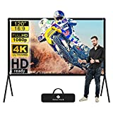 Projector Screen, Wall-Mounted Projector Screen with Stand, HD 3D Wrinkle-Free Outdoor Projector Screen, Double Sided Projection Outdoor Movie Screen, Portable Projector Screen 120 Inch