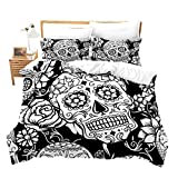 Sugar Skull Bedding Set Skull Duvet Cover Queen Size for Kids Teens Youth Adults Halloween Decor Comforter Cover Rose Floral Print Gothic Bedclothes Black White Horror Design