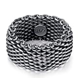 ANAZOZ 925 Ring Herren Vintage Geflochten Ring Silber Ring Einfach Verlobungsring Siegelring Herren Turkische Man Punk Ring Silber Punk...