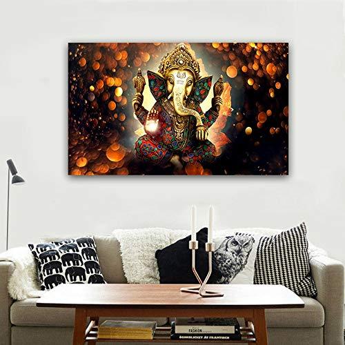 ganlanshu Cuadro En Lienzo Ganesha póster y Cuadros de Pared para Sala de estar70x115Pintura sin Marco