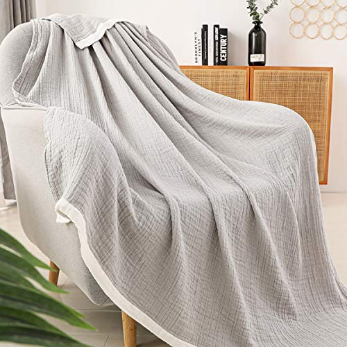 SE SOFTEXLY Throw Blanket for Bed,3-Layer Muslin Summer Blanket for Couch Sofa,Light Comfortable 100% Cotton Blanket
