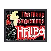 Hellboy ヘルボーイ 装飾画 額縁付き インテリア 壁掛け 壁飾り ウォールアート 北欧 部屋装飾 シンプル 黒い枠 木製の枠 アートフレーム モダン おしゃれ インテリアアート オフィス ダイニング 玄関 リビングと寝室の飾りアートパネル 写真 ソファの背景絵画 贈り物 取り付けやすい