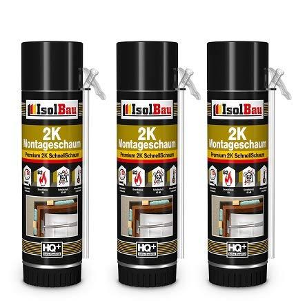 2K Espuma de montaje 3 x 400 ml Arco Espuma de puerta espuma rápida PU Adaptador Espuma