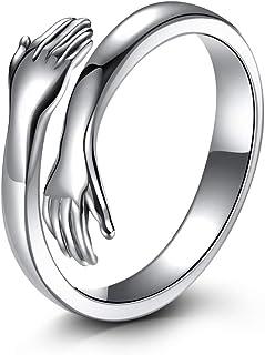 LOVECOM Hug Ring,925 Sterling Silver Hug Rings for Women Girls Silver Hugging Ha