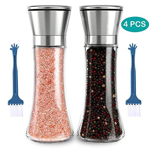 Molinillo de Sal y Pimienta, GeeRic 2 Pcs molinillo de pimienta molinillo sal molinillos de especias, agitadores de acero inoxidable cepillado y vidrio Ajustable, 2 pcs cepillo de limpieza