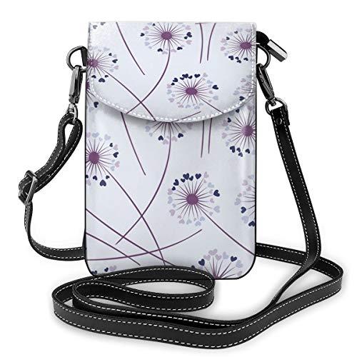 Pusteblumen-Handtasche mit Blumenmuster, nahtloses Muster, Vektorbild, kleine Umhängetasche, Handtasche für Damen – PU-Leder, Handtasche mit verstellbarem Riemen für den Alltag