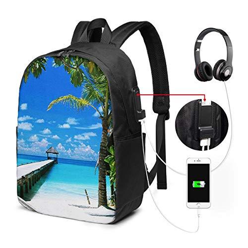 """WEQDUJG Mochila Portatil 17"""" Pulgadas Mochila Hombre Mujer con Puerto USB, Maldivas Beach Car Mochila para El Laptop para Ordenador del Trabajo Viaje"""